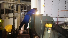 Sound Dead Steel attenuates noise on sea water absorber pumps. Acoustic enclosures and noise control.